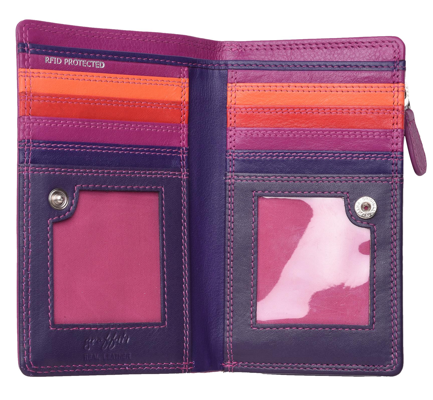 Femme-Veritable-Multi-Couleur-RFID-Blocage-De-Haute-Qualite-Sac-a-Main-Portefeuille miniature 12
