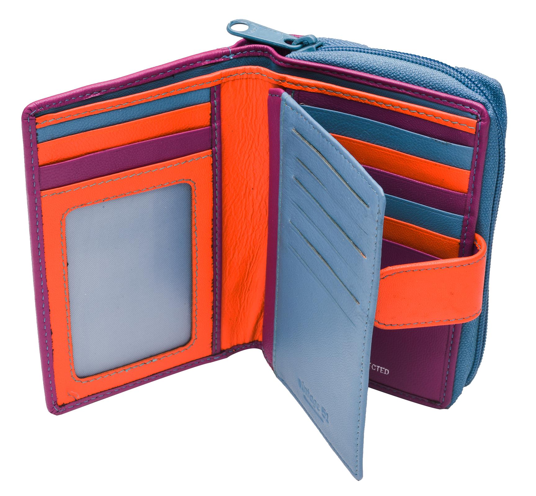 Ladies-Womens-RFID-Blocking-Safe-Leather-Bifold-Medium-Purse-Wallet-Coin-Section thumbnail 8