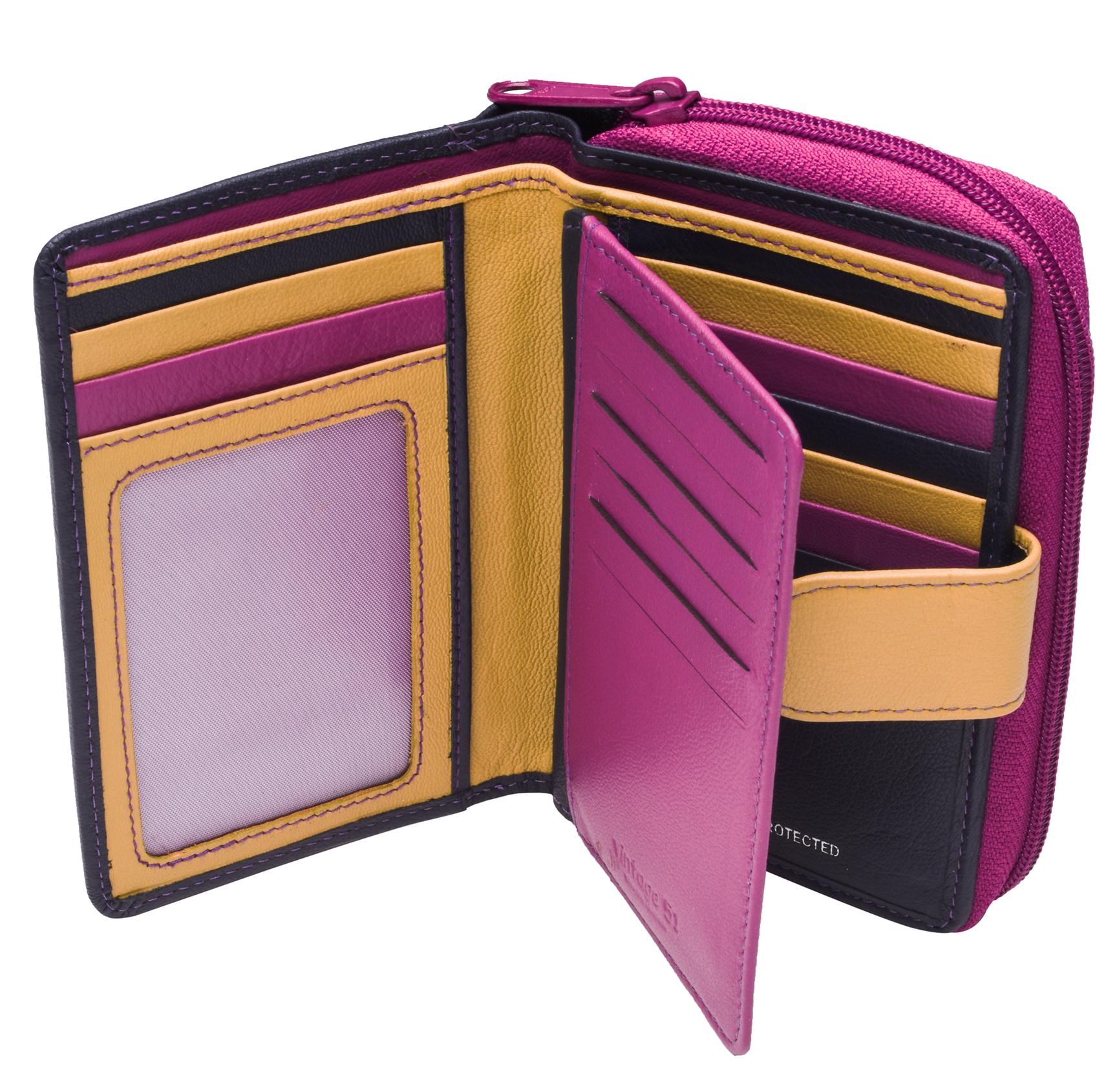 Ladies-Womens-RFID-Blocking-Safe-Leather-Bifold-Medium-Purse-Wallet-Coin-Section thumbnail 4