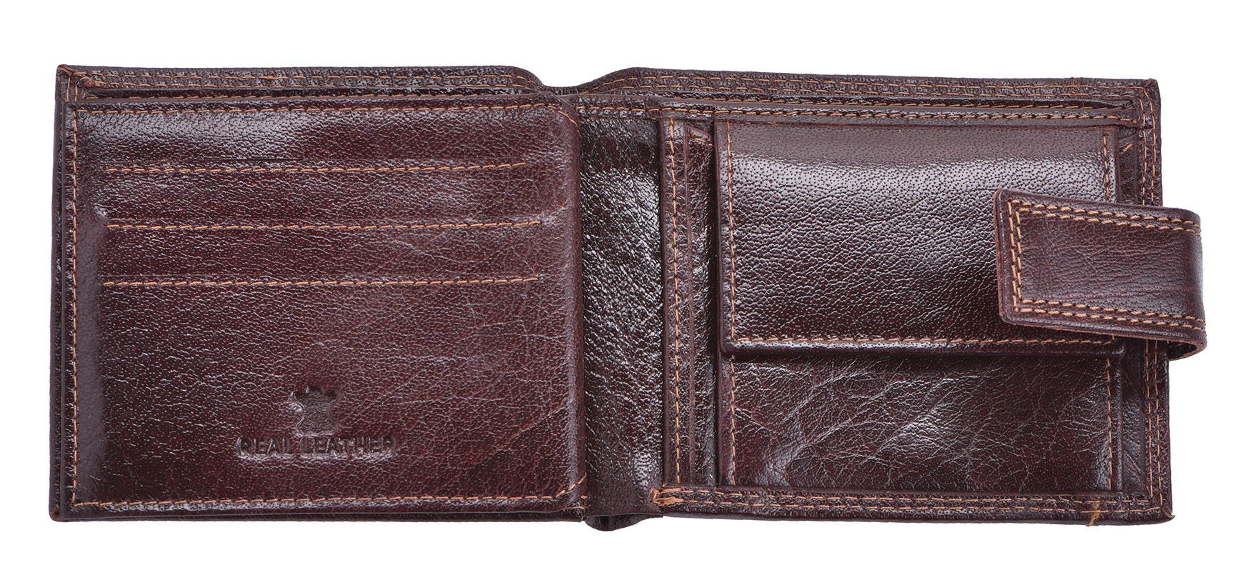 Luxe-Veritable-Grained-Cuir-Homme-Flip-Out-Wallet-Purse-Coin-Holder-Brown miniature 4