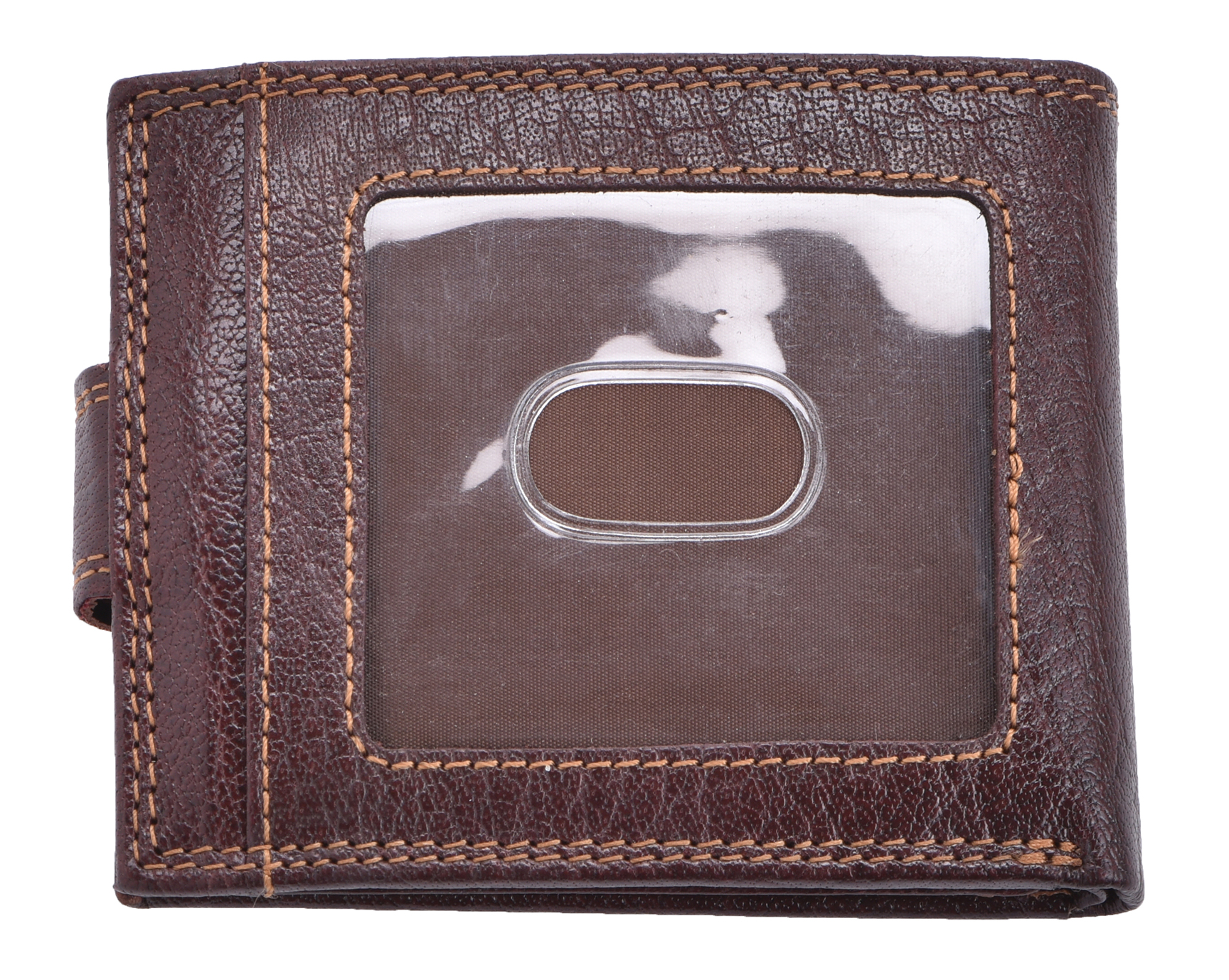 Luxe-Veritable-Grained-Cuir-Homme-Flip-Out-Wallet-Purse-Coin-Holder-Brown miniature 5