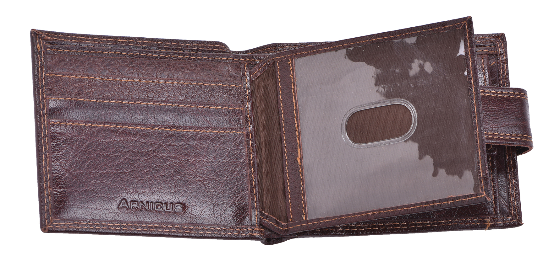 Luxe-Veritable-Grained-Cuir-Homme-Flip-Out-Wallet-Purse-Coin-Holder-Brown miniature 3