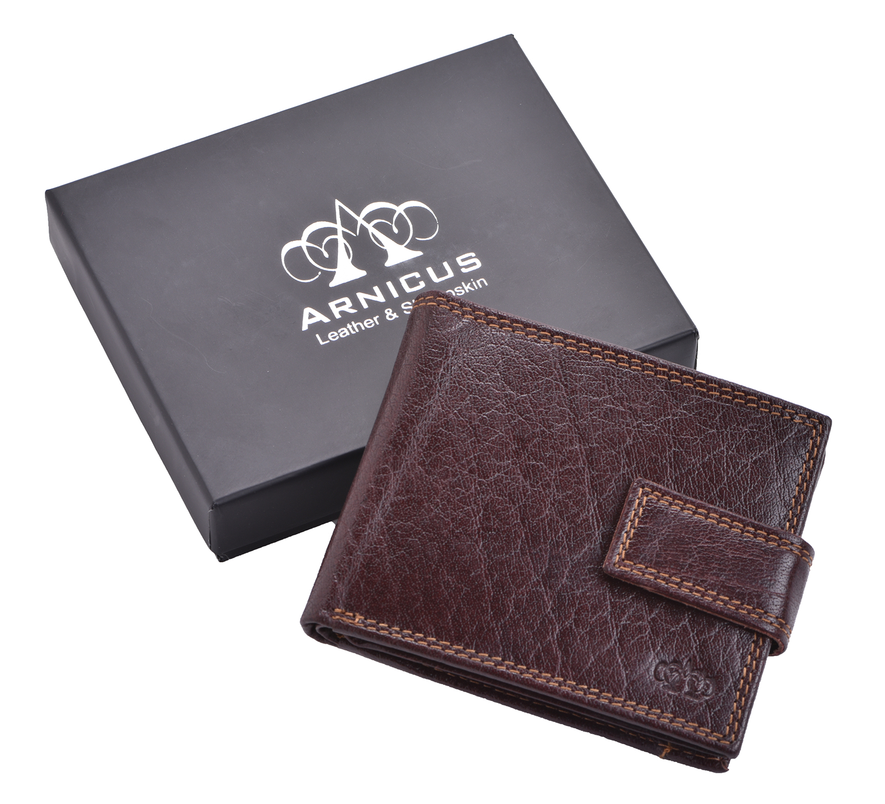 Luxe-Veritable-Grained-Cuir-Homme-Flip-Out-Wallet-Purse-Coin-Holder-Brown miniature 6