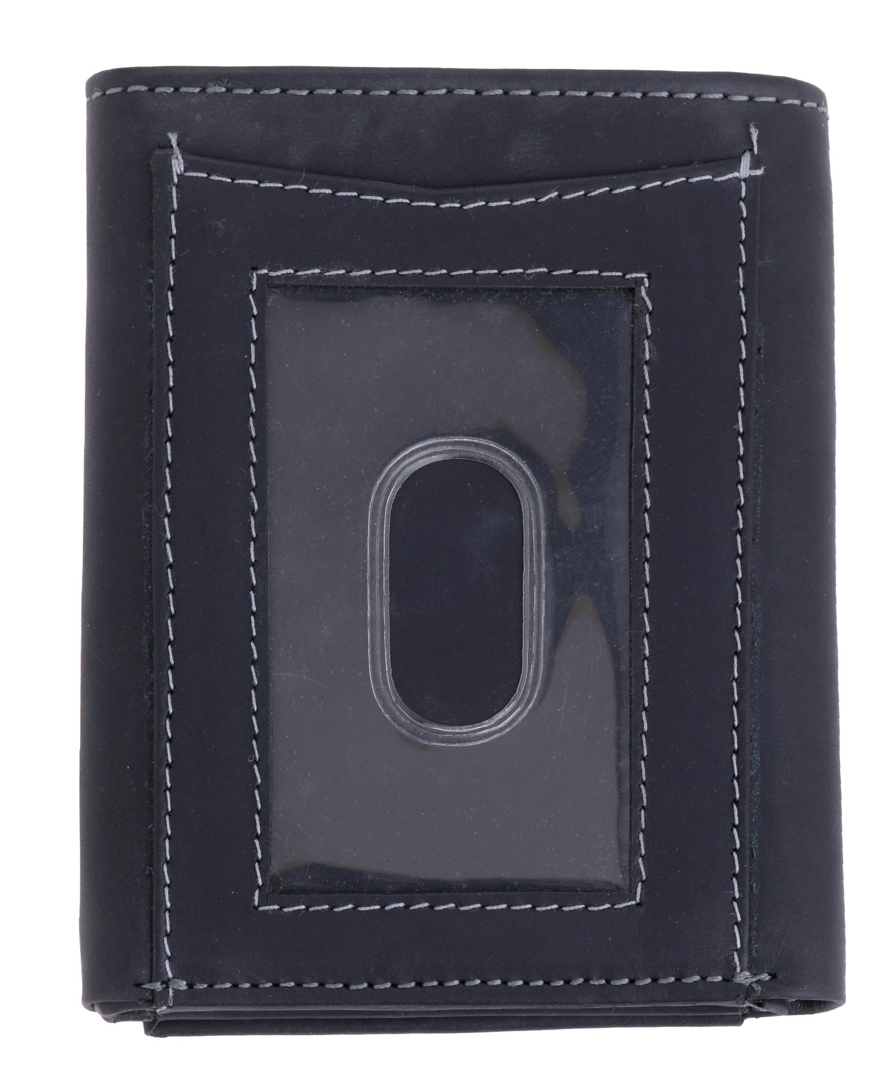 Homme-effet-vieilli-Cuir-Veritable-Trifold-Wallet-Purse-RFID-Bloquant-Marron-Noir miniature 4