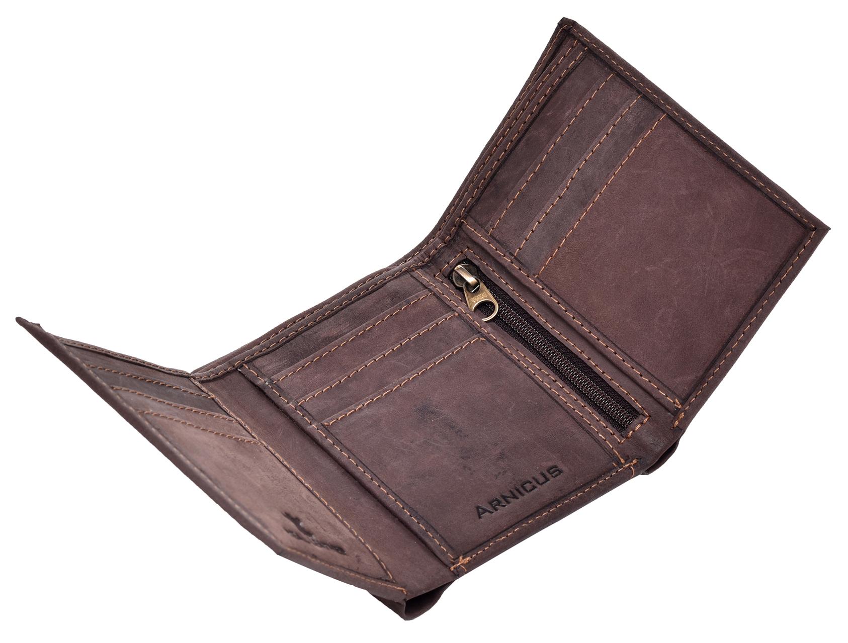 Homme-effet-vieilli-Cuir-Veritable-Trifold-Wallet-Purse-RFID-Bloquant-Marron-Noir miniature 7