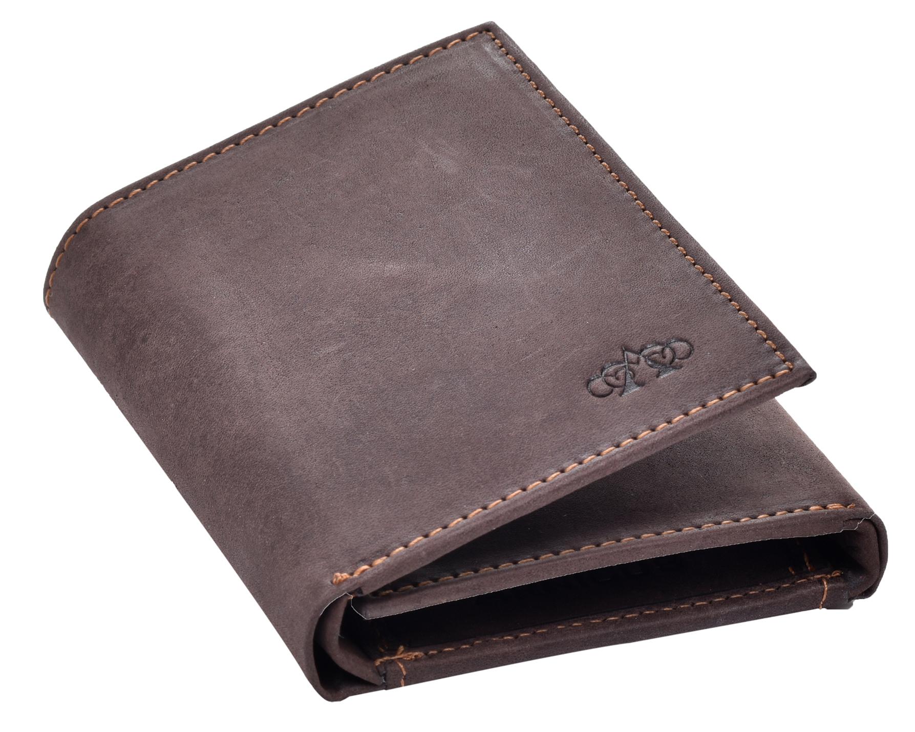 Homme-effet-vieilli-Cuir-Veritable-Trifold-Wallet-Purse-RFID-Bloquant-Marron-Noir miniature 8