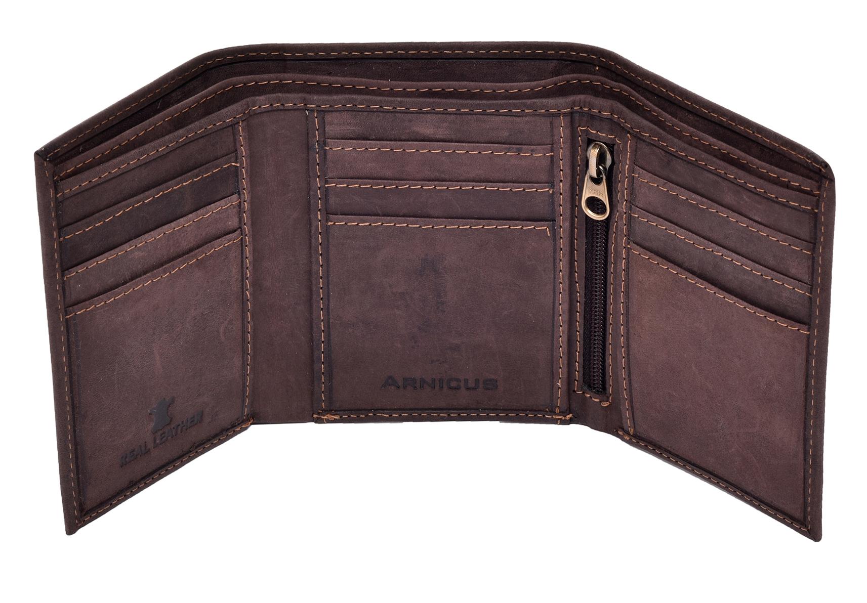 Homme-effet-vieilli-Cuir-Veritable-Trifold-Wallet-Purse-RFID-Bloquant-Marron-Noir miniature 6