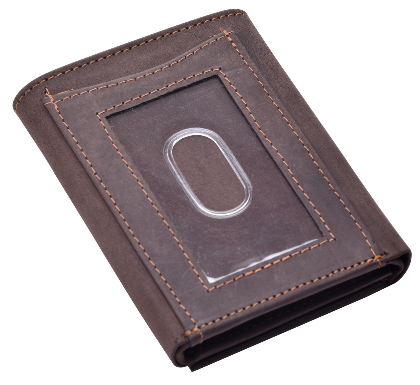 Homme-effet-vieilli-Cuir-Veritable-Trifold-Wallet-Purse-RFID-Bloquant-Marron-Noir miniature 9