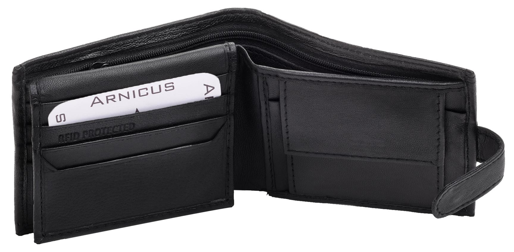 Arnicus-Homme-Gents-Doux-Cuir-Veritable-Flip-Up-Portefeuille-RFID-Bloquant miniature 3