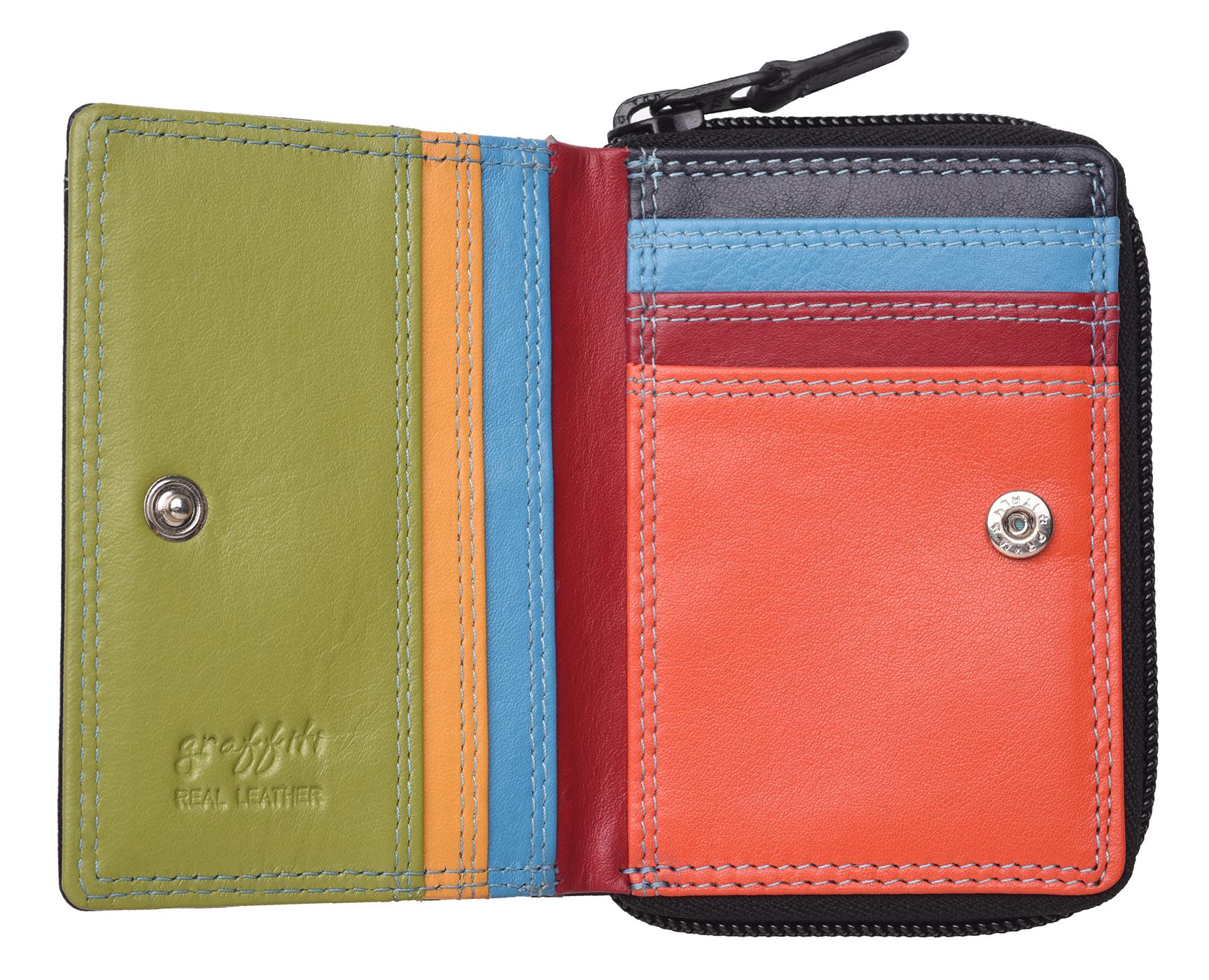 Femme-Femmes-RFID-Bloquant-en-Cuir-Veritable-Petit-Sac-a-main-portefeuille-vert-rose-rouge miniature 14