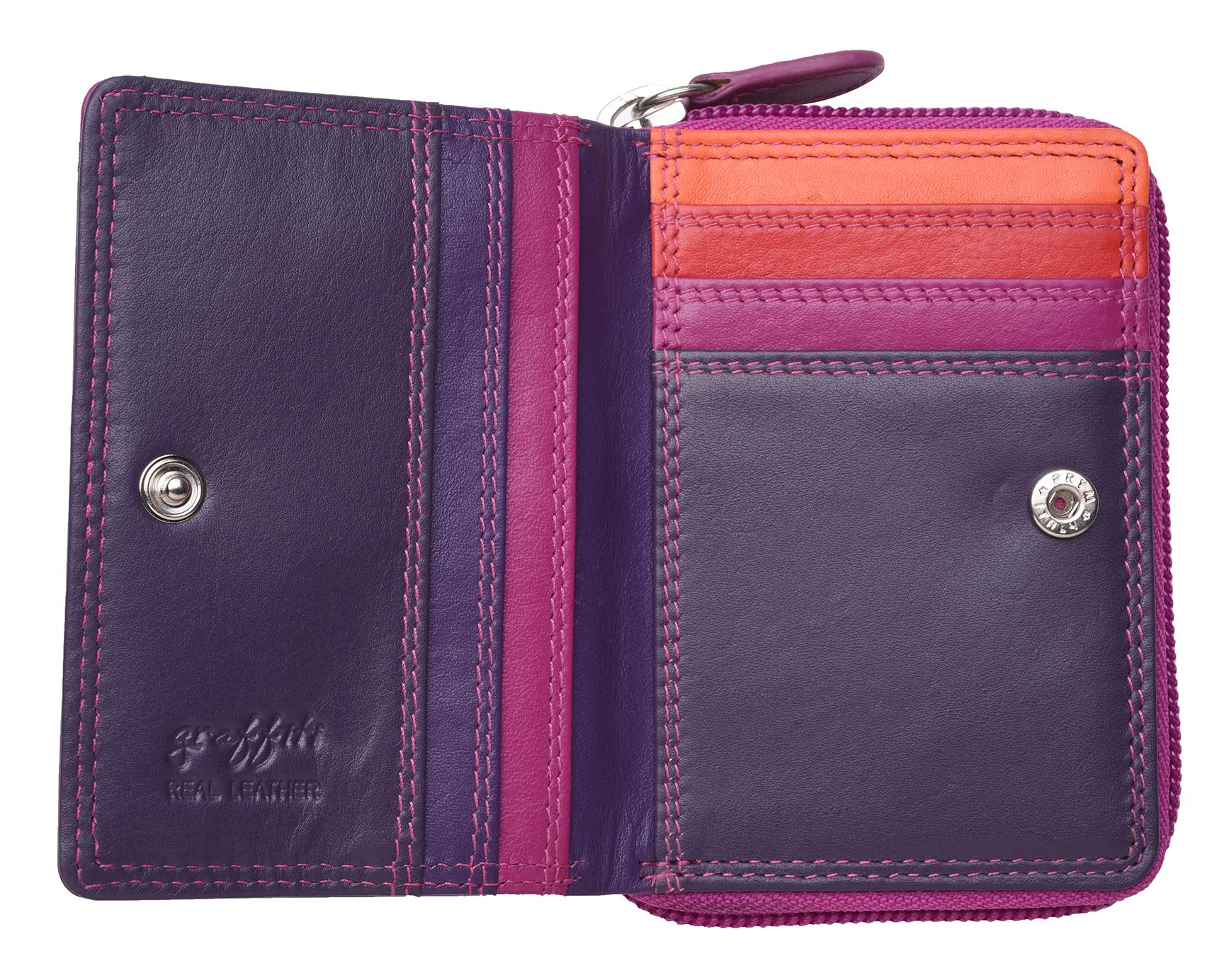 Femme-Femmes-RFID-Bloquant-en-Cuir-Veritable-Petit-Sac-a-main-portefeuille-vert-rose-rouge miniature 18
