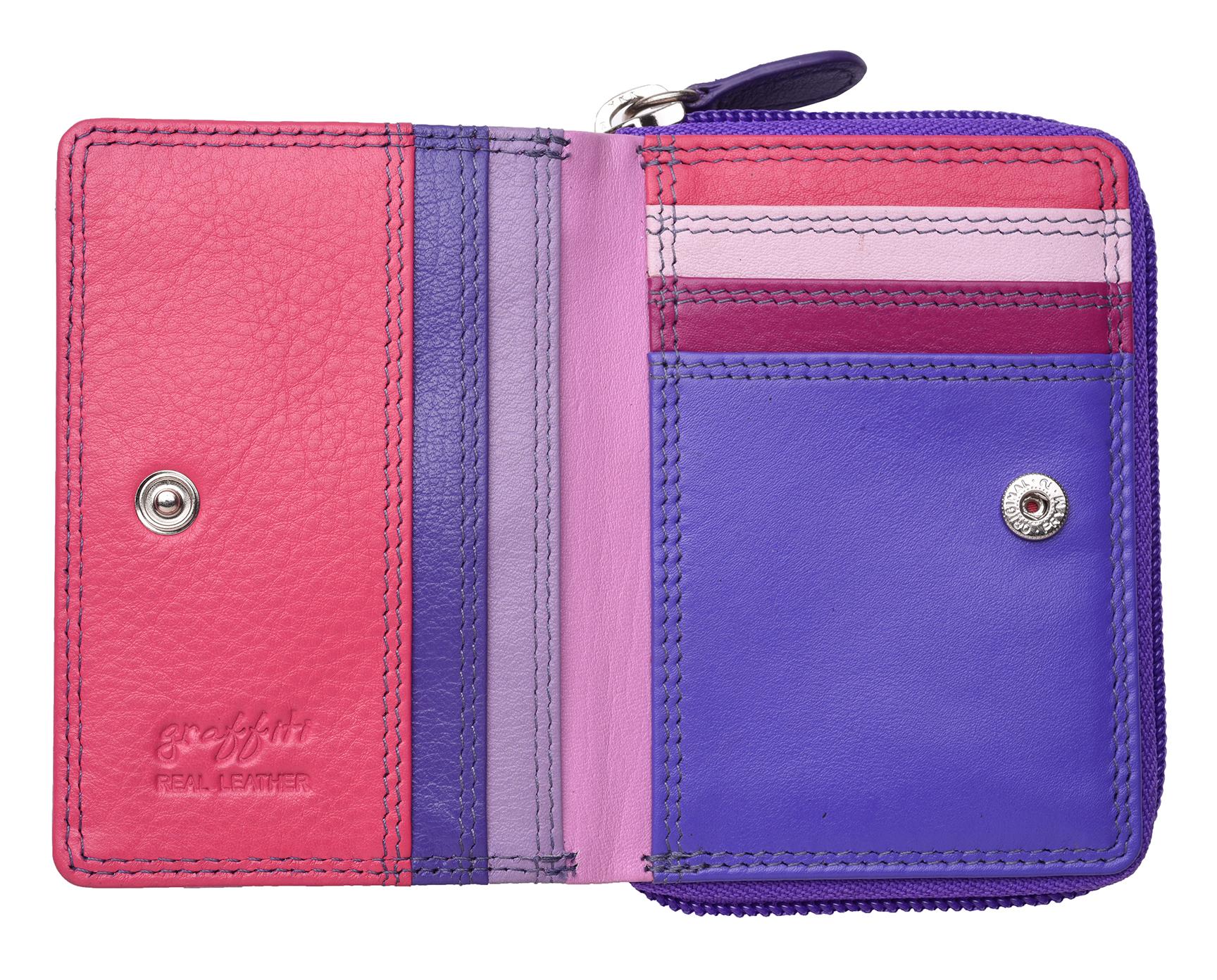 Femme-Femmes-RFID-Bloquant-en-Cuir-Veritable-Petit-Sac-a-main-portefeuille-vert-rose-rouge miniature 34