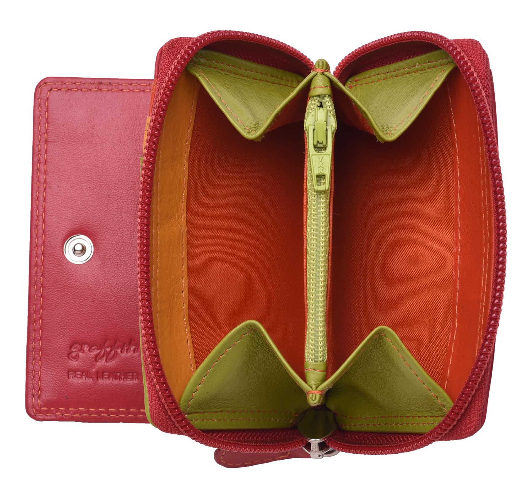 Femme-Femmes-RFID-Bloquant-en-Cuir-Veritable-Petit-Sac-a-main-portefeuille-vert-rose-rouge miniature 7