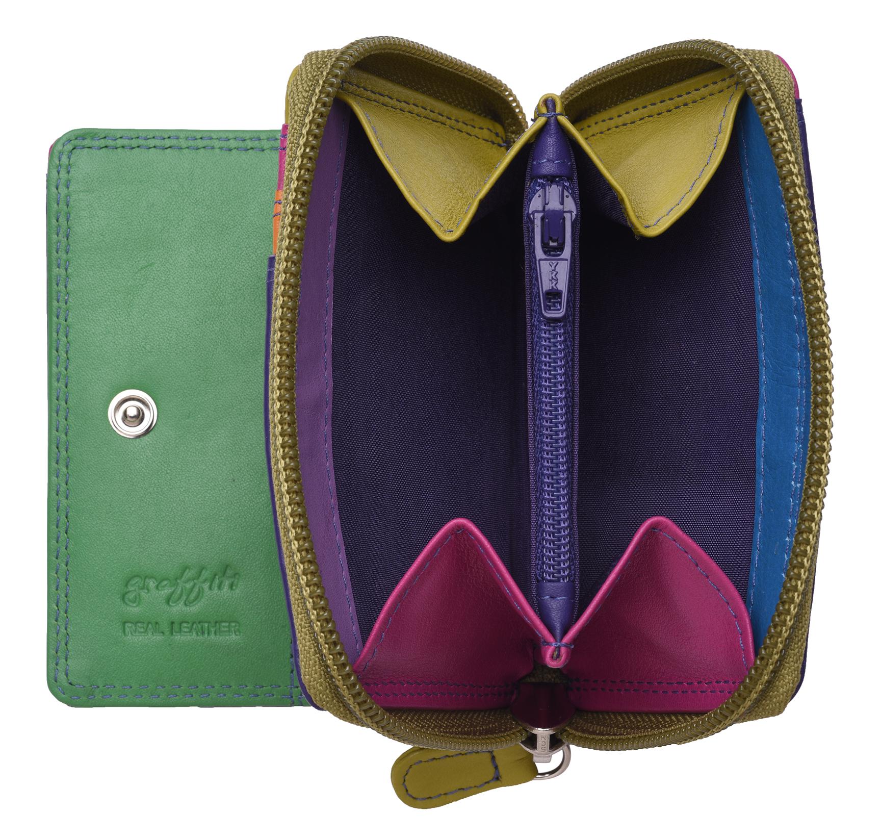 Femme-Femmes-RFID-Bloquant-en-Cuir-Veritable-Petit-Sac-a-main-portefeuille-vert-rose-rouge miniature 31