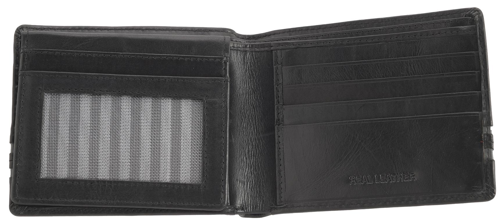 Mens Gents Genuine Leather Super Soft RFID Blocking Safe Flip Up Wallet Purse