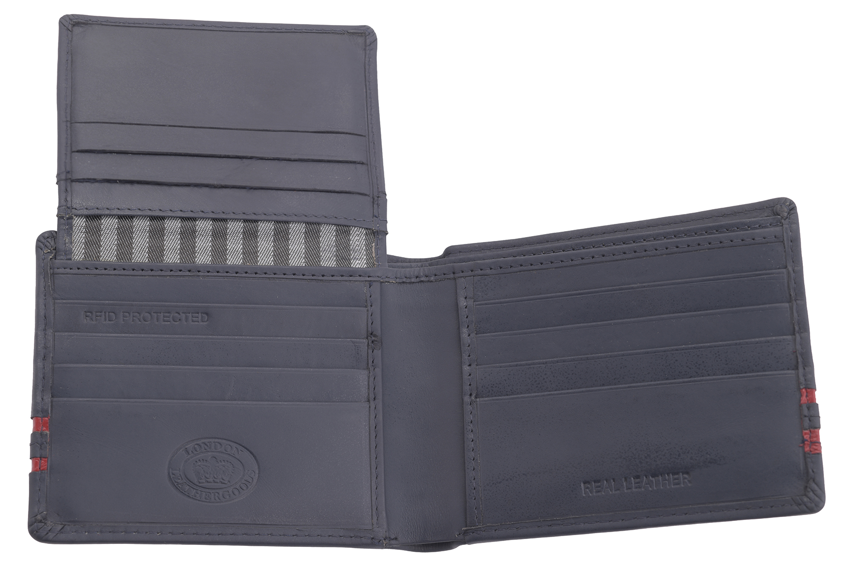 Mens Gents RFID Blocking Soft Real Leather Tab Wallet Purse Zipped Coin Holder