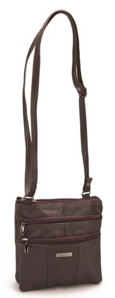Ladies-Leather-Multi-Zip-Handbag-with-Crossbody-Shoulder-Strap thumbnail 10