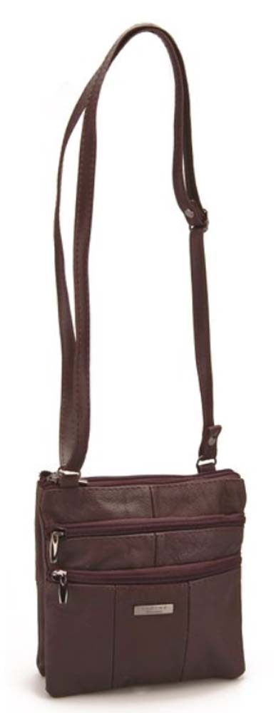 Ladies-Leather-Multi-Zip-Handbag-with-Crossbody-Shoulder-Strap thumbnail 28