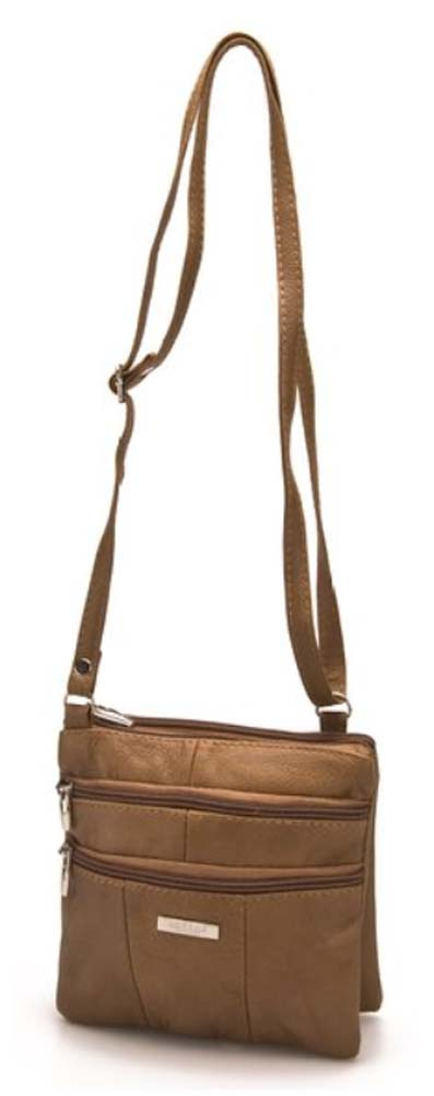 Ladies-Leather-Multi-Zip-Handbag-with-Crossbody-Shoulder-Strap thumbnail 4