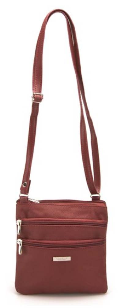 Ladies-Leather-Multi-Zip-Handbag-with-Crossbody-Shoulder-Strap thumbnail 19