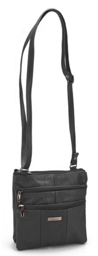 Ladies-Leather-Multi-Zip-Handbag-with-Crossbody-Shoulder-Strap thumbnail 9