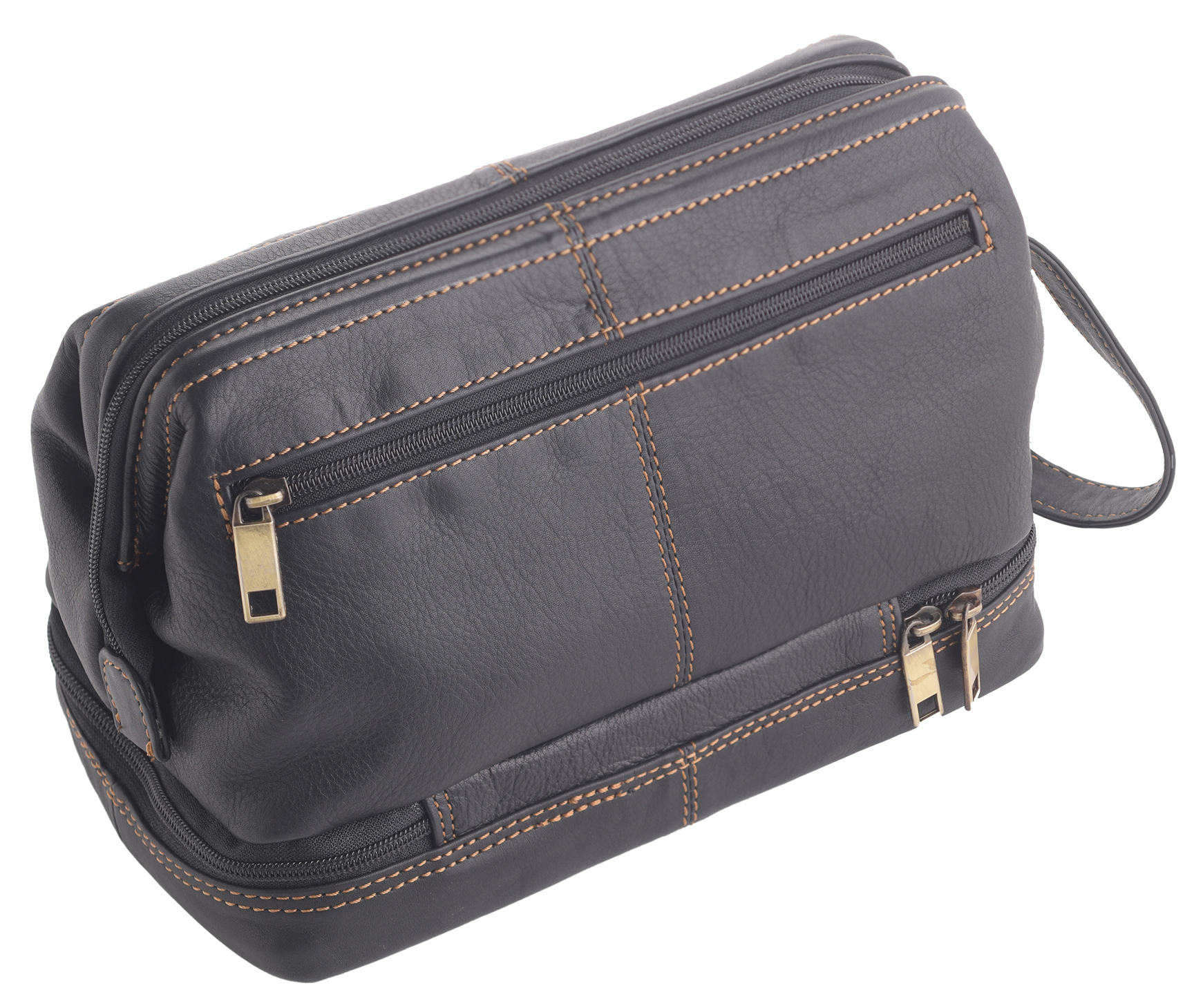 4dbaf19da460 Details about Mens Womens Wide Opening Quality Leather Wash Toiletry  Shaving Toiletry Bag