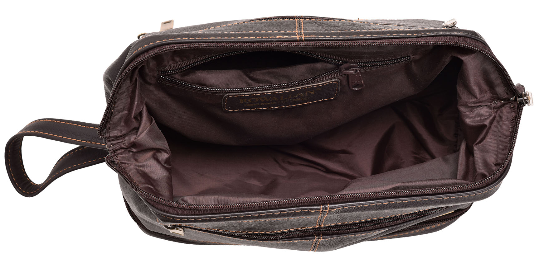 Mens Womens Wide Opening Quality Leather Wash Toiletry Shaving Toiletry Bag