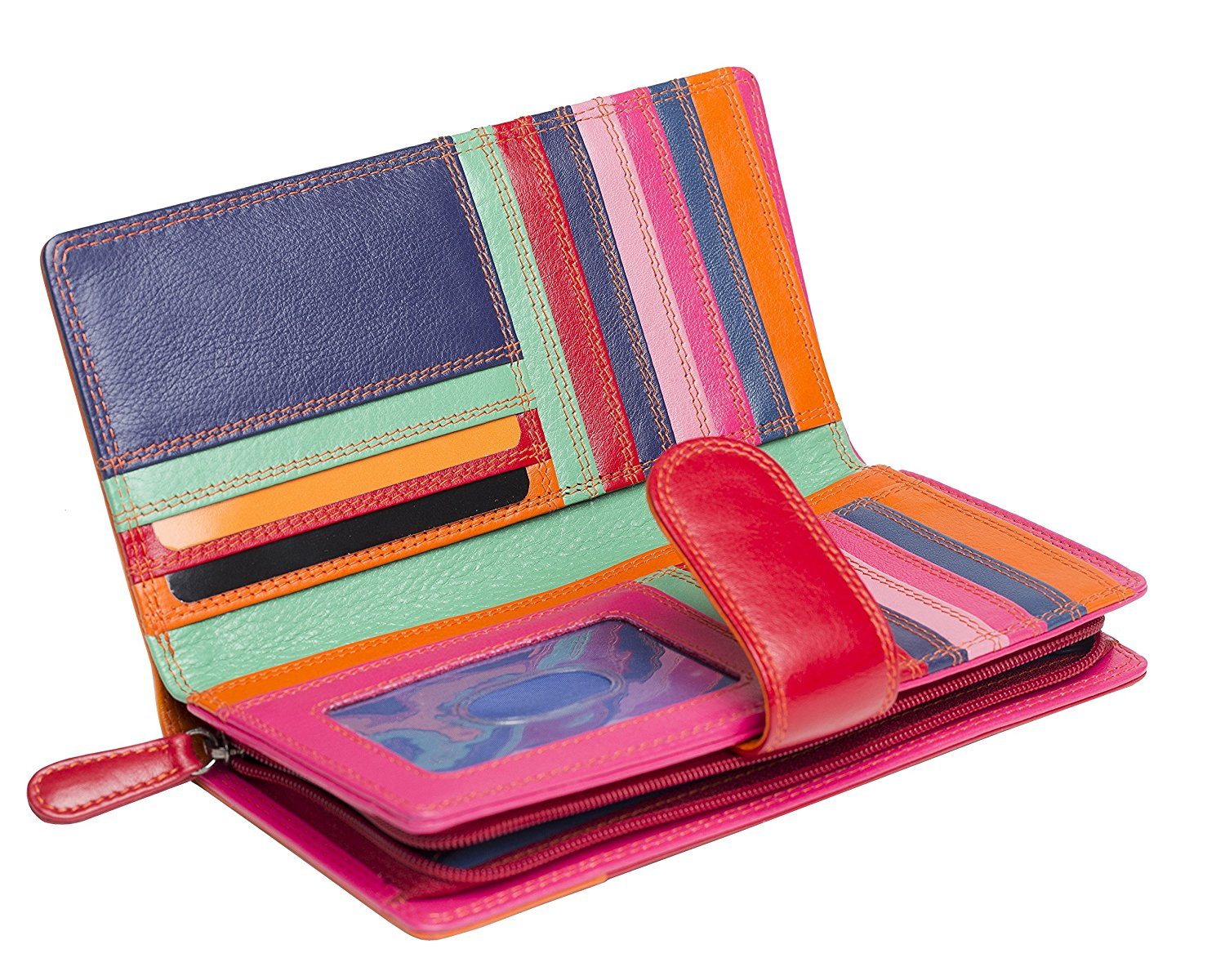 Femme-Luxe-Multi-couleur-cuir-grand-sac-a-main-RFID-Bloquant-violet-rouge miniature 8