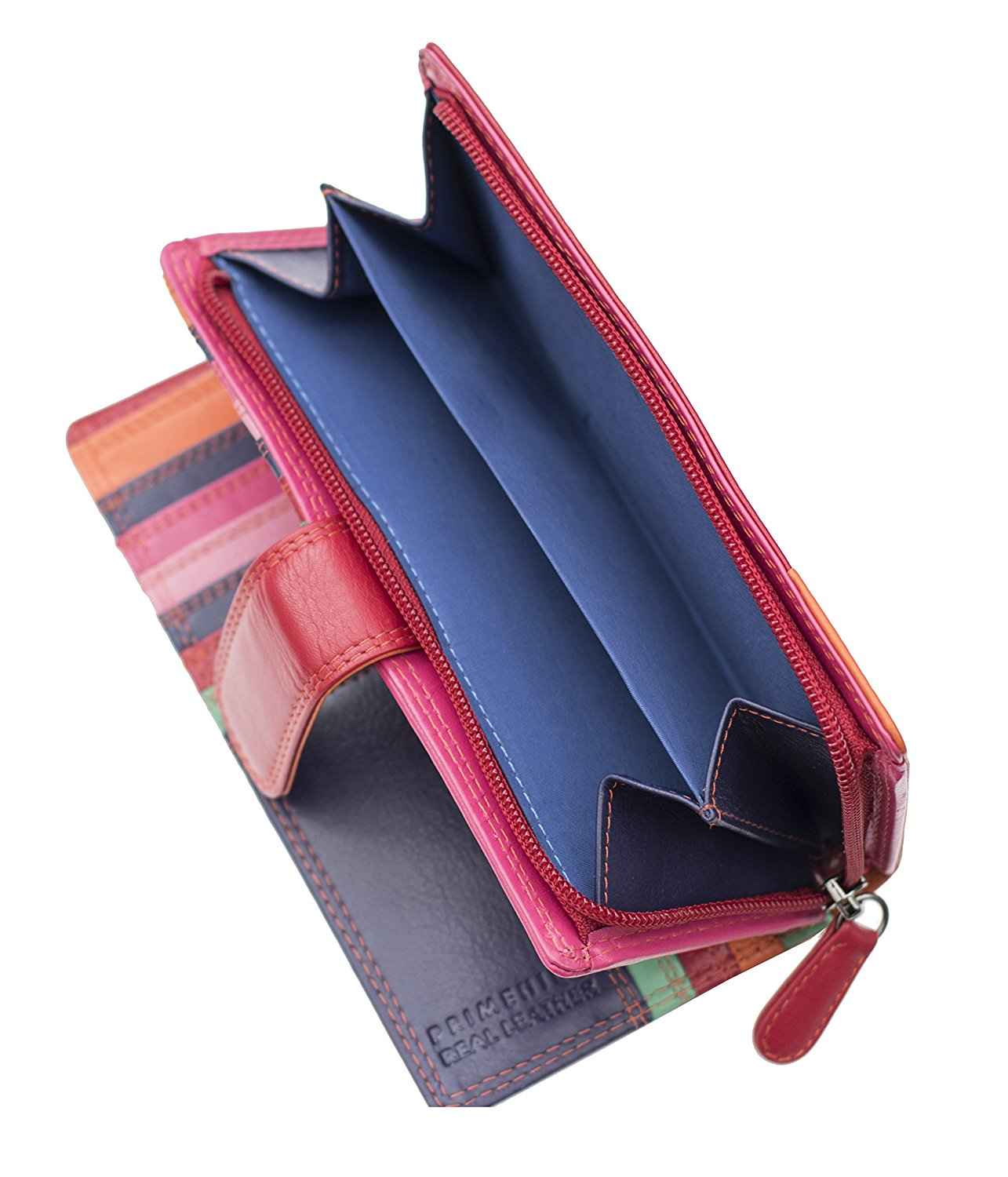Femme-Luxe-Multi-couleur-cuir-grand-sac-a-main-RFID-Bloquant-violet-rouge miniature 9