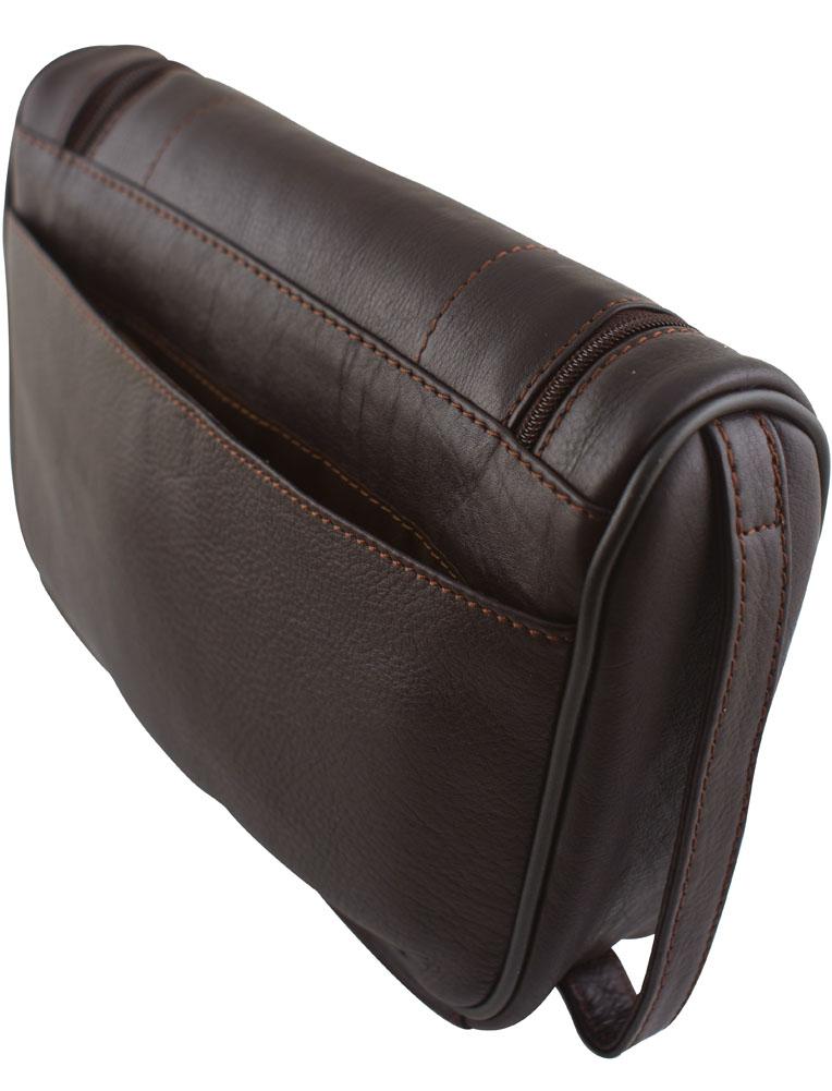 Unisex Premium Leather Washbag Travel Shampoo Shaving Bag Zipped Bottom