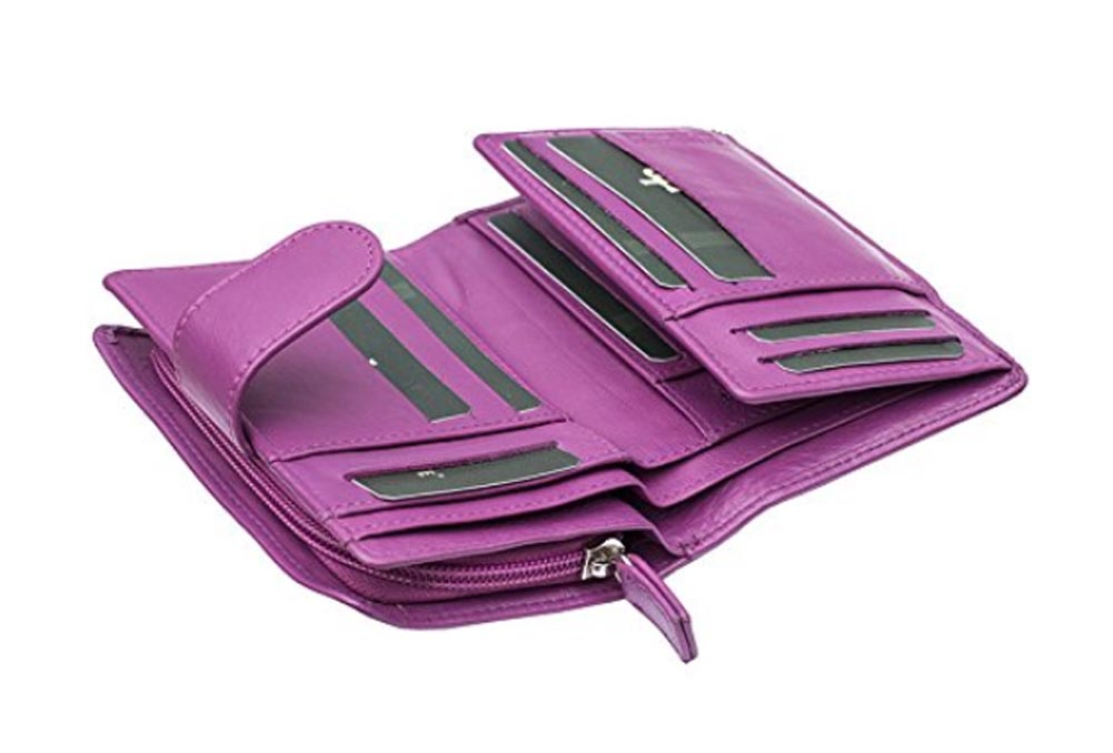 Ladies-Womens-Super-Soft-Large-Genuine-Leather-Purse-Wallet-Zipped-Coin-Section miniature 16