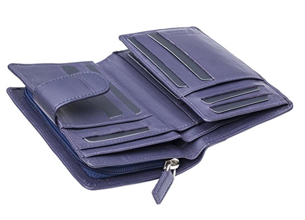 Ladies-Womens-Super-Soft-Large-Genuine-Leather-Purse-Wallet-Zipped-Coin-Section miniature 7