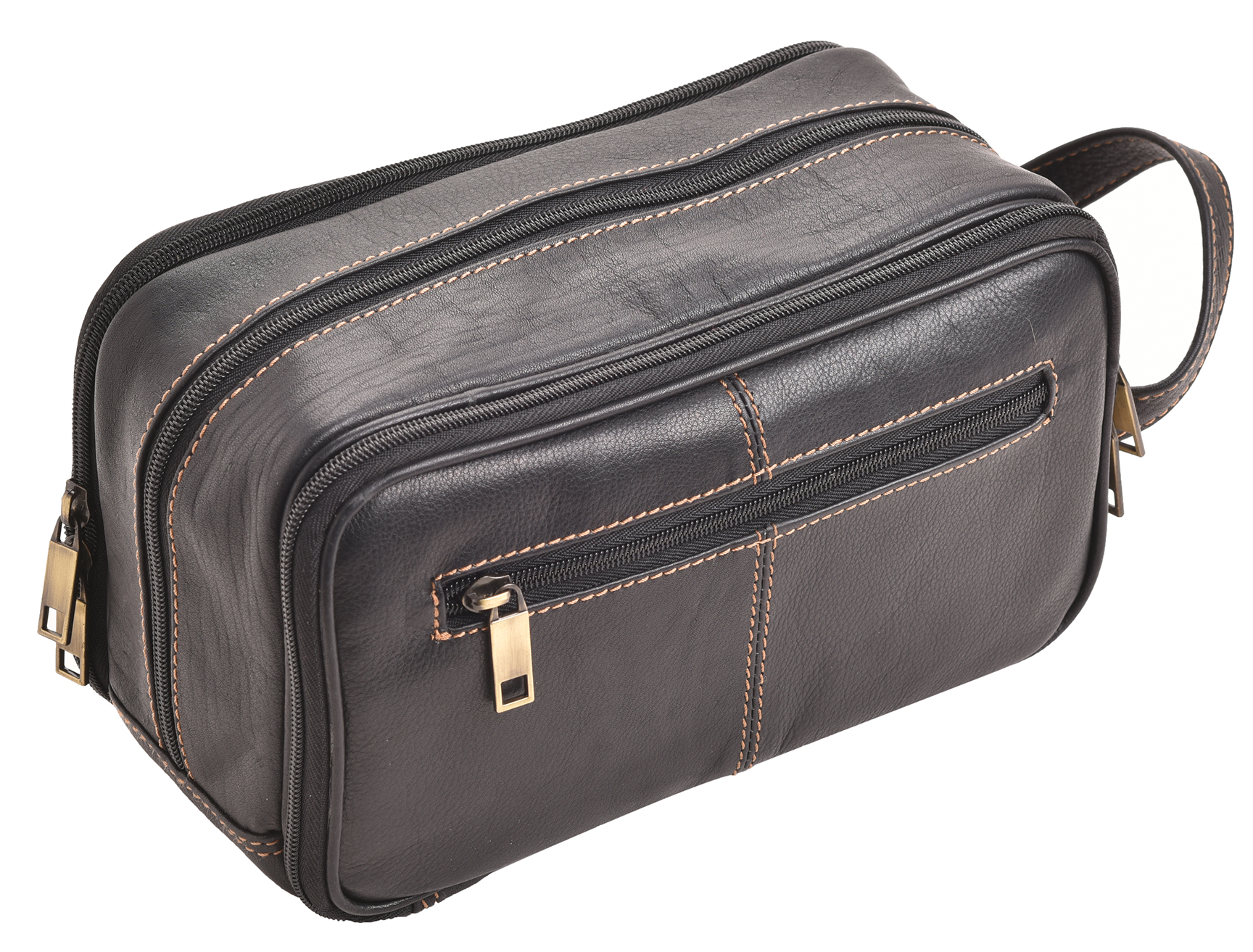 Mens Ladies Triple Zipped Quality Leather Wash Toiletry Bag Shaving Travel Pouch