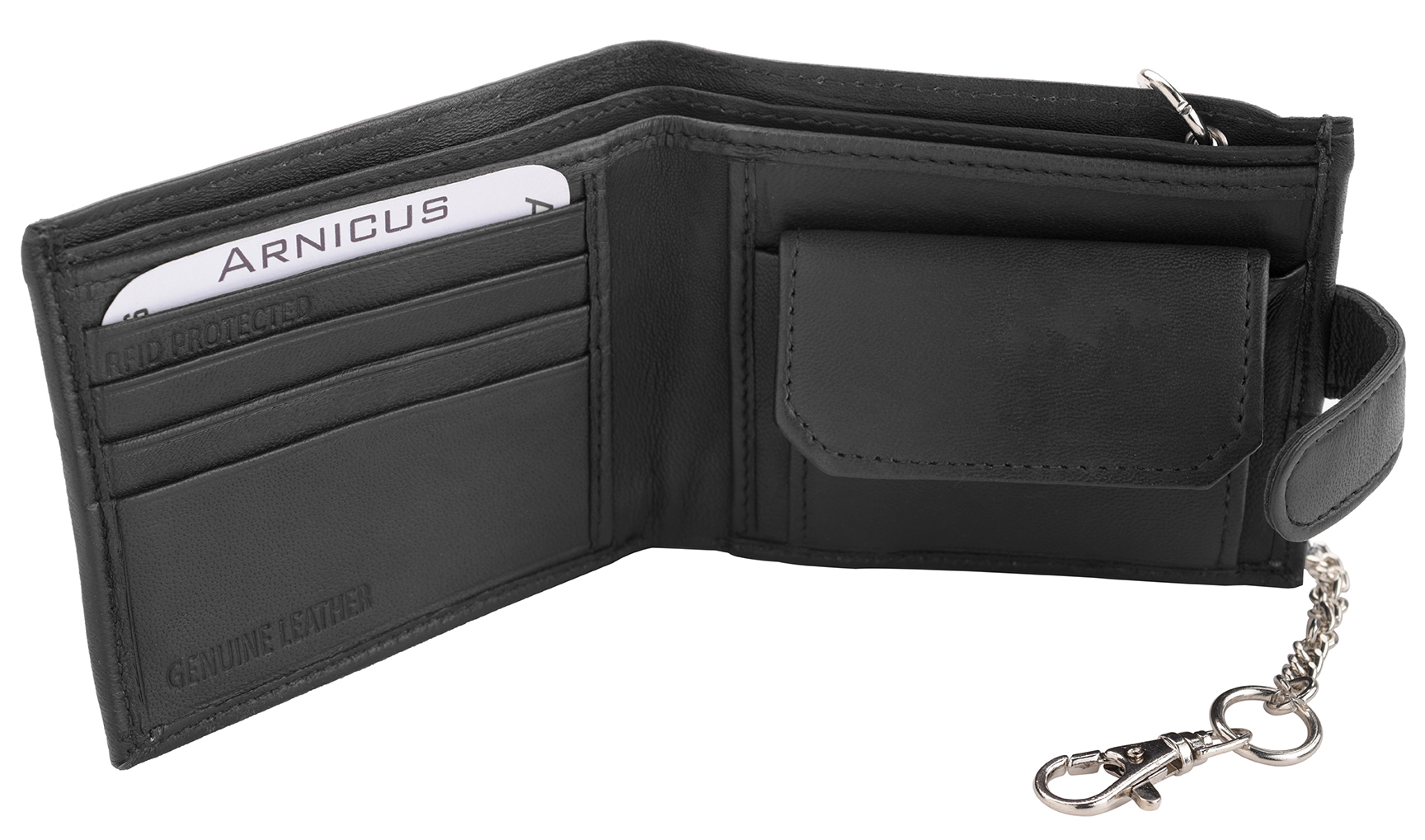 46f1e20b20 Mens Soft Genuine Nappa Leather Wallet with Safety Chain - RFID ...