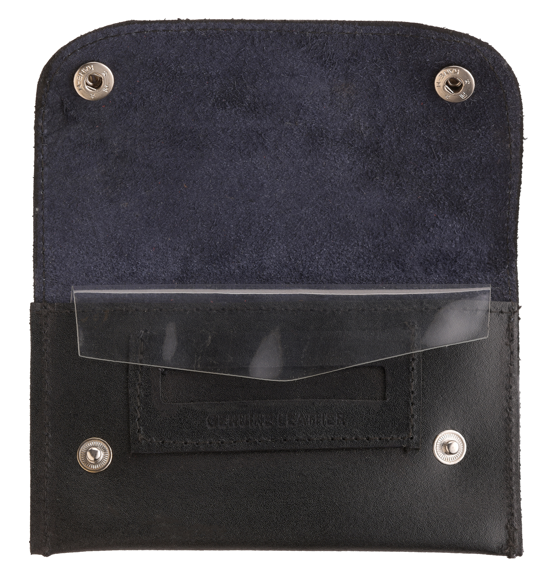 Genuine Hard Leather Dual Popper Keep Tobacco Fresh Paper Pouch Holder Black