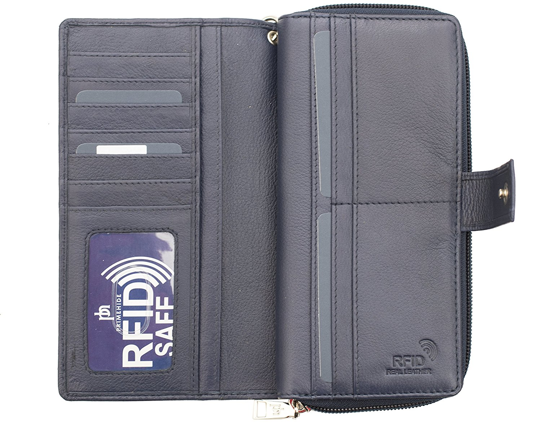 Femme-RFID-Bloquant-luxe-en-cuir-sac-a-main-Smart-Phone-Purse-Wallet miniature 9