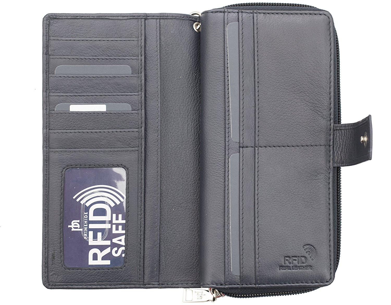 Femme-RFID-Bloquant-luxe-en-cuir-sac-a-main-Smart-Phone-Purse-Wallet miniature 3