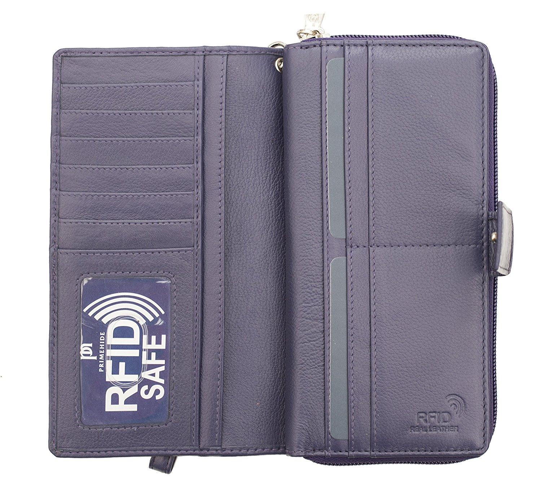 Femme-RFID-Bloquant-luxe-en-cuir-sac-a-main-Smart-Phone-Purse-Wallet miniature 6