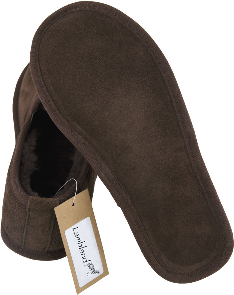 Mens Genuine Sheepskin and Boot Slippers with Hard Suede Sole and Sheepskin Pull Tab f7dc40
