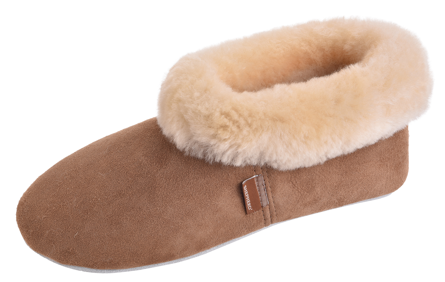 Tan Boot Cuff Uk5 Ladies Uk6 Genuine Rolled Slipper Sheepskin Suede Sole Womens tqIRwzW