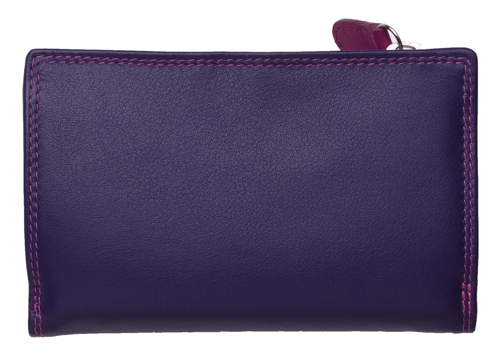 Mesdames-RFID-Bloquant-Super-Doux-Cuir-Veritable-Sac-a-Main-Portefeuille-Noir-Rose-Violet miniature 13