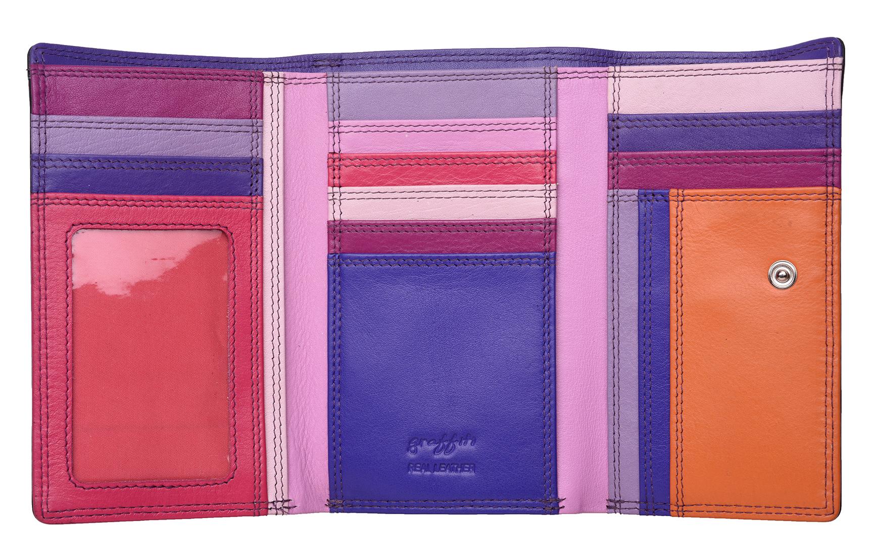 Mesdames-RFID-Bloquant-Super-Doux-Cuir-Veritable-Sac-a-Main-Portefeuille-Noir-Rose-Violet miniature 27