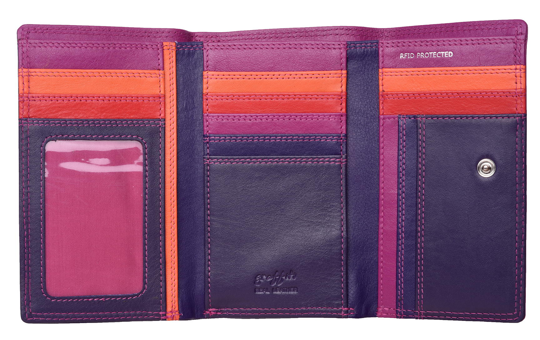 Mesdames-RFID-Bloquant-Super-Doux-Cuir-Veritable-Sac-a-Main-Portefeuille-Noir-Rose-Violet miniature 12
