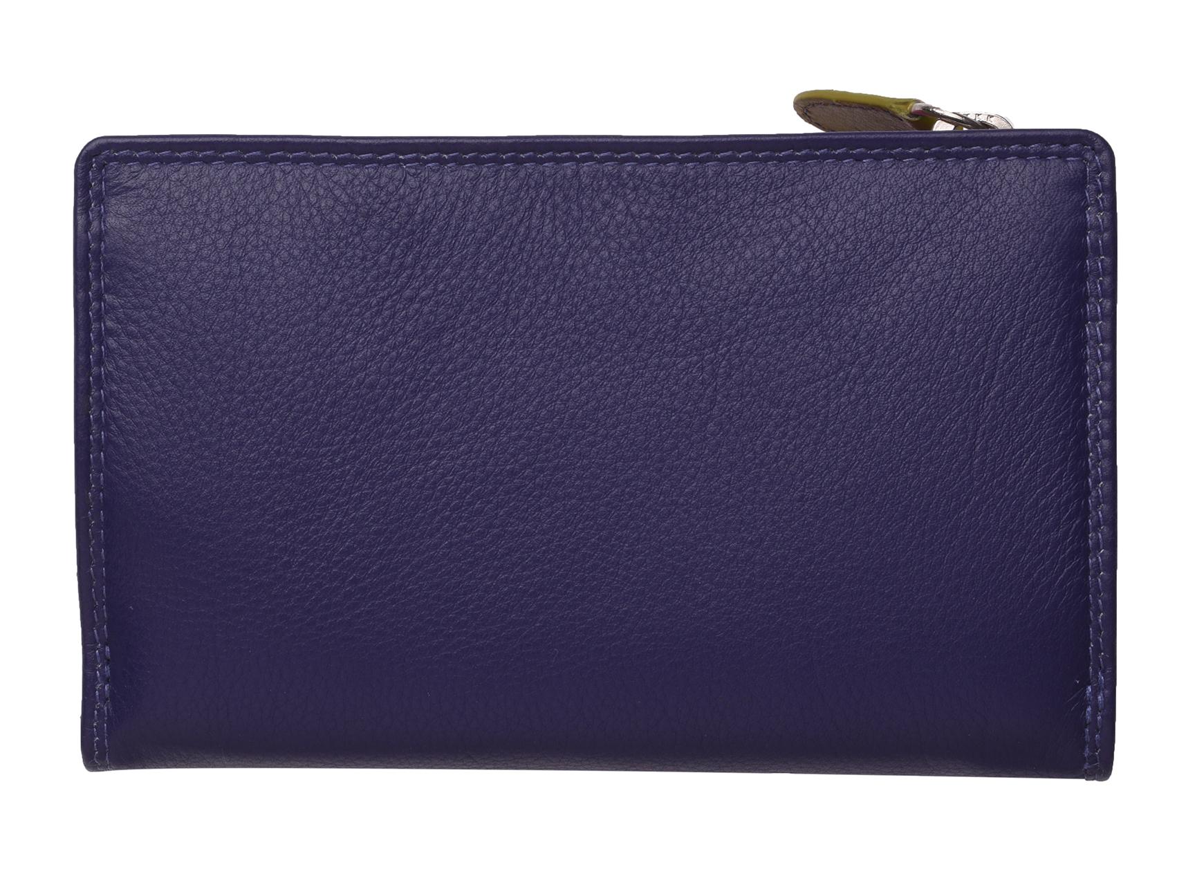 Mesdames-RFID-Bloquant-Super-Doux-Cuir-Veritable-Sac-a-Main-Portefeuille-Noir-Rose-Violet miniature 22