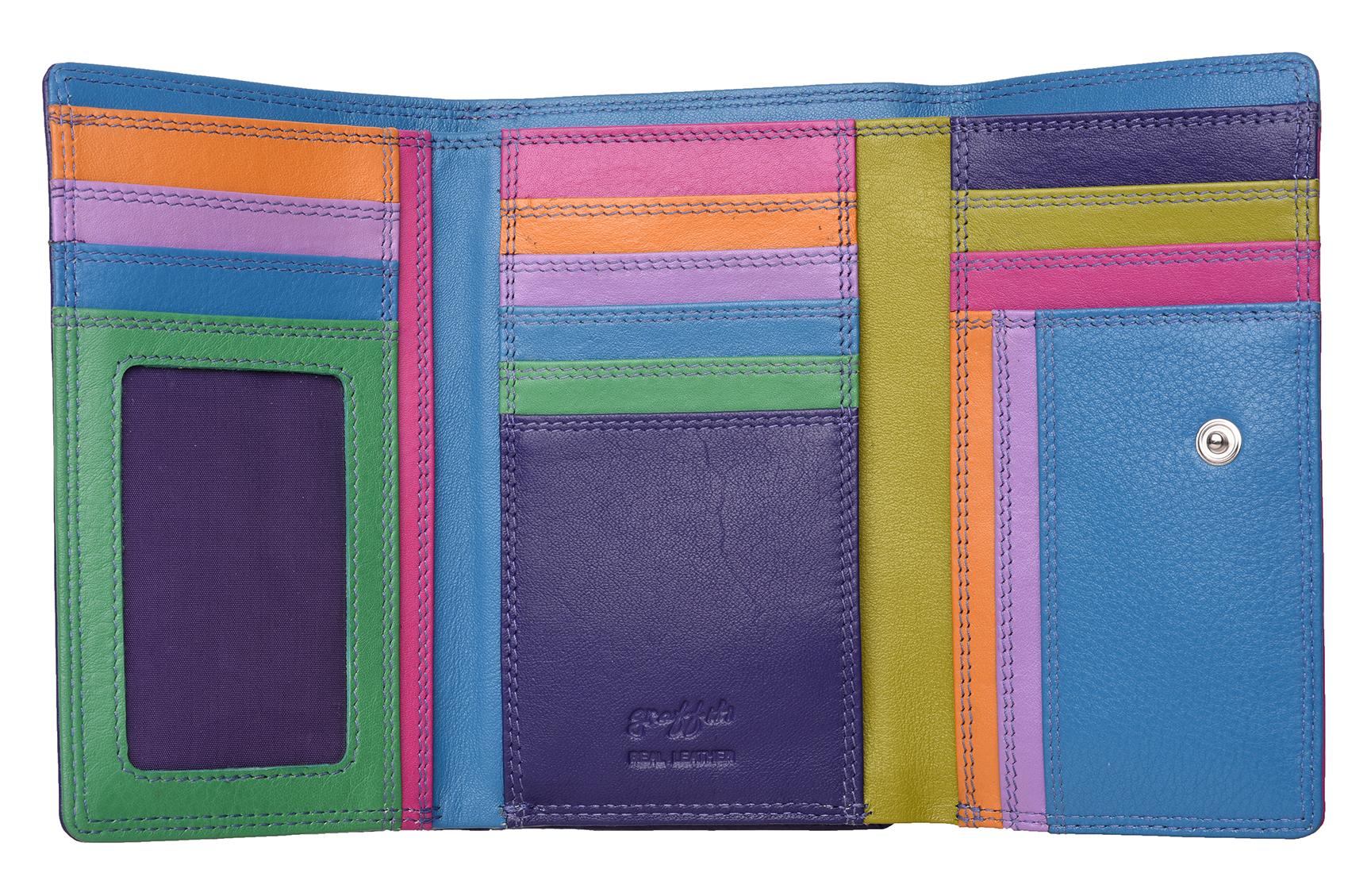 Mesdames-RFID-Bloquant-Super-Doux-Cuir-Veritable-Sac-a-Main-Portefeuille-Noir-Rose-Violet miniature 21