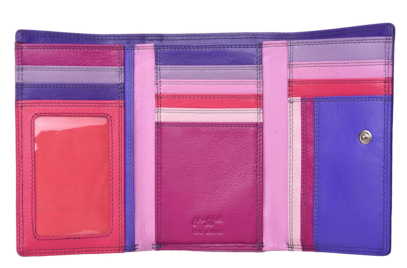 Mesdames-RFID-Bloquant-Super-Doux-Cuir-Veritable-Sac-a-Main-Portefeuille-Noir-Rose-Violet miniature 24