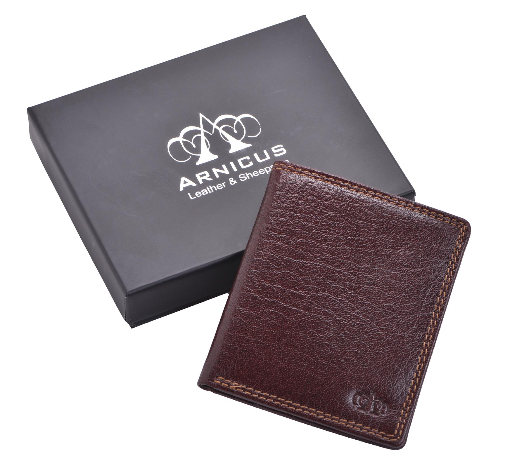 Mens-Gents-Luxe-Slim-RFID-Bloquant-Authentique-Portefeuille-Porte-monnaie-porte-carte-marron miniature 3