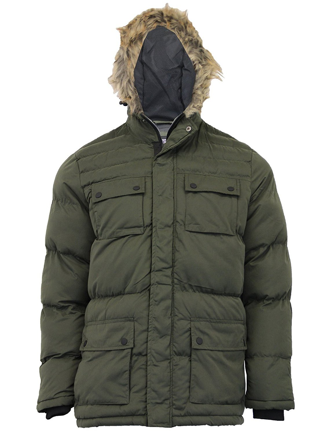 Mens Brave Soul Jackets Warm Winter Quilted Padded Coat