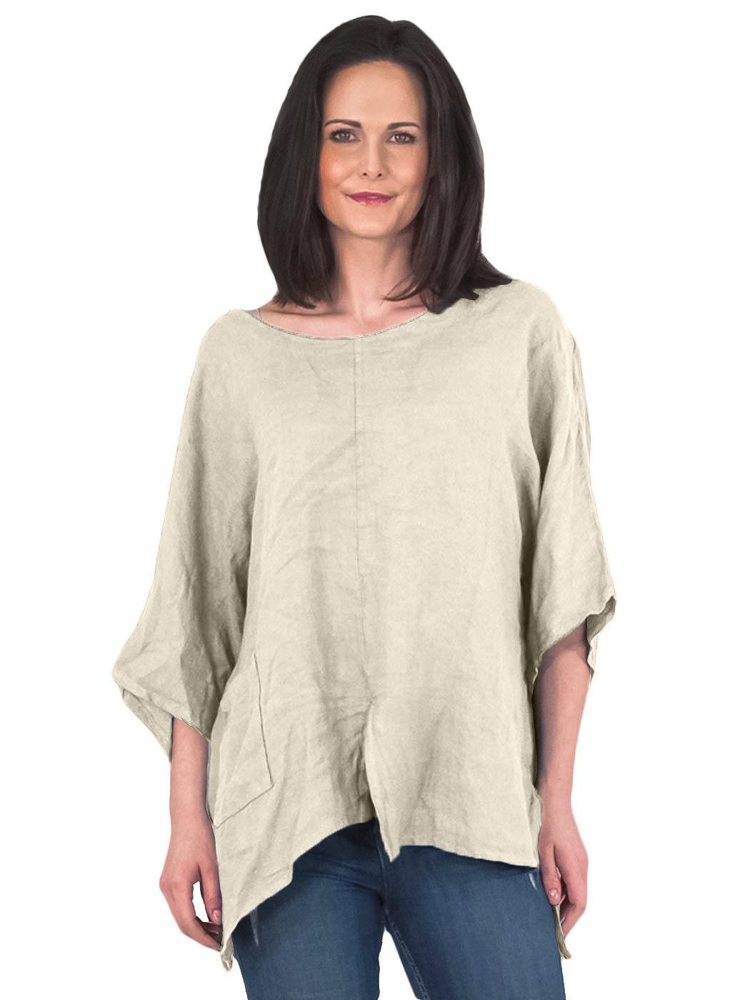 New womens italian plain batwing front pocket linen plus for Womens linen shirts blouses