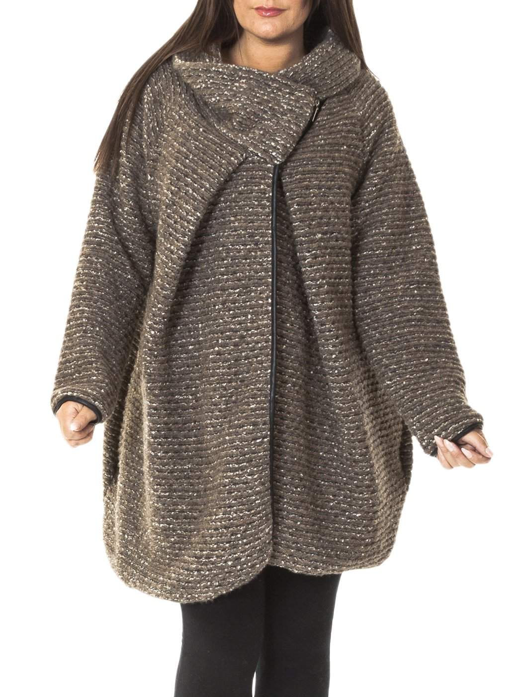 Womens Italian Cocoon Wool Knitted Quirky Lagenlook Coat